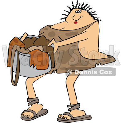 Clipart of a Cavewoman Carrying a Basket of Laundry - Royalty Free Vector Illustration © djart #1265331