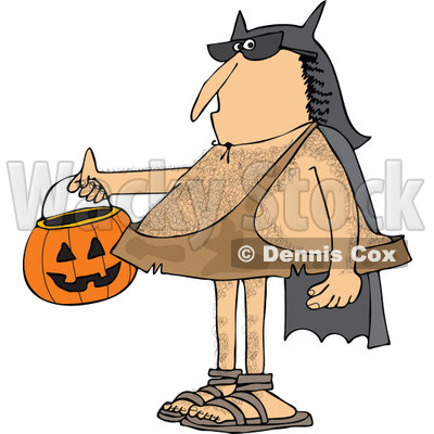 Clipart of a Hairy Caveman Trick or Treating in a Bat Man Halloween Costume - Royalty Free Vector Illustration © djart #1265334