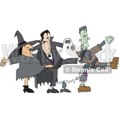 Clipart of a Halloween Witch, Dracula Vampire, Ghost and Frankenstine Dancing the Can Can - Royalty Free Vector Illustration © djart #1267141