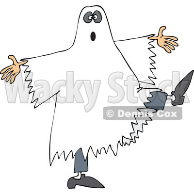 Clipart of a Halloween Ghost Dancing - Royalty Free Vector Illustration © djart #1267142
