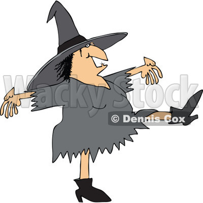Clipart of a Chubby Halloween Witch Dancing - Royalty Free Vector Illustration © djart #1267147