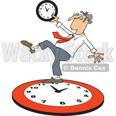 Clipart of a Caucasian Businessman Falling Back on a Red Wall Clock - Royalty Free Vector Illustration © djart #1269081