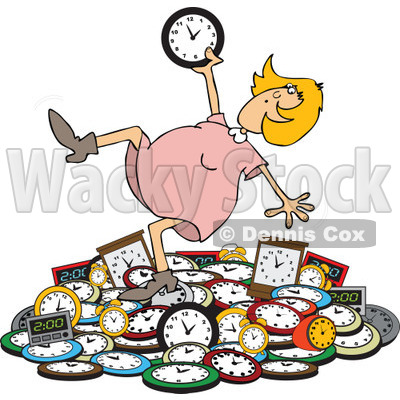 Clipart of a Caucasian Blond Woman Falling Back on a Pile of Clocks - Royalty Free Vector Illustration © djart #1269082