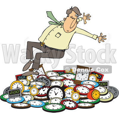Clipart of a Caucasian Businessman Falling Back on a Pile of Clocks - Royalty Free Vector Illustration © djart #1269084