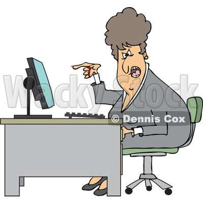 Clipart of a Caucasian Angry Business Woman Yelling at Her Computer Desk - Royalty Free Vector Illustration © djart #1270293