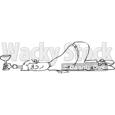 Clipart of a Black and White Drunk Businessman Passed out on the Floor with His Butt up in the Air - Royalty Free Vector Illustration © djart #1270896