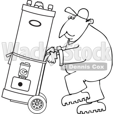 Clipart of a Black and White Worker Man Moving a Water Heater on a Dolly - Royalty Free Vector Illustration © djart #1271618