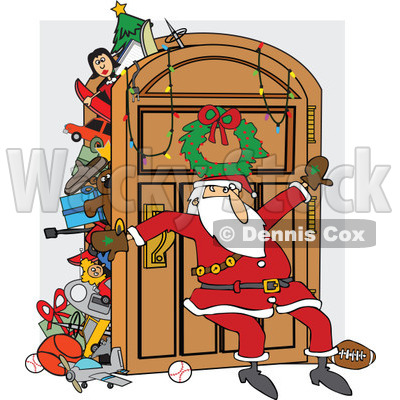Clipart Of A Santa Claus Leaning Against An Overflowing Closet Door