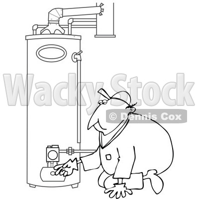 Clipart of a Black and White Worker Man Kneeling and Checking a Water Heater - Royalty Free Vector Illustration © djart #1272912