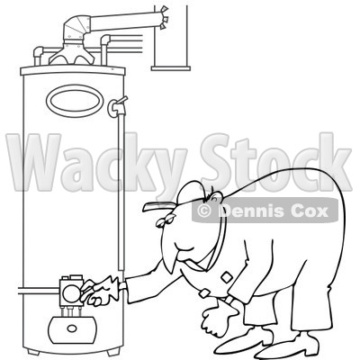 Clipart of a Black and White Worker Man Bending over and Checking a Water Heater - Royalty Free Vector Illustration © djart #1272914