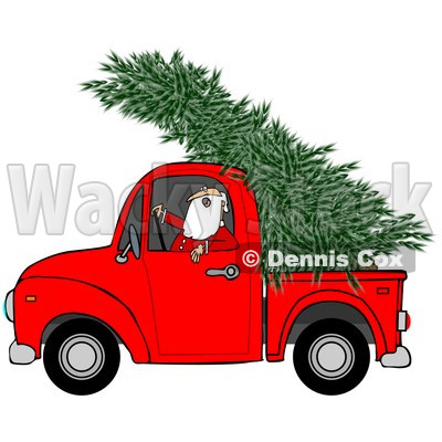 Clipart of Santa Driving a Fresh Cut Christmas Tree in a Red Pickup Truck - Royalty Free Illustration © djart #1273851