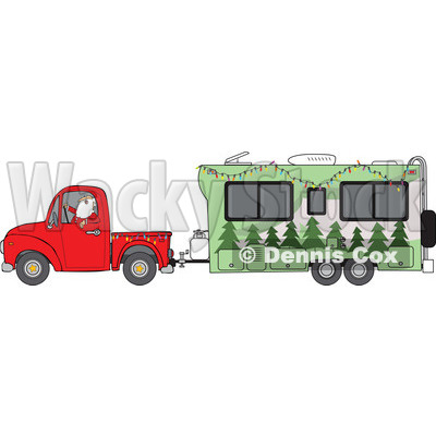 Clipart of Santa Driving a Pickup Truck and Hauling a Christmas Travel Trailer - Royalty Free Vector Illustration © djart #1273853