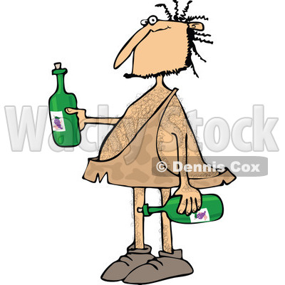 Clipart of a Hairy Caveman Holding Wine Bottles - Royalty Free Vector Illustration © djart #1273855