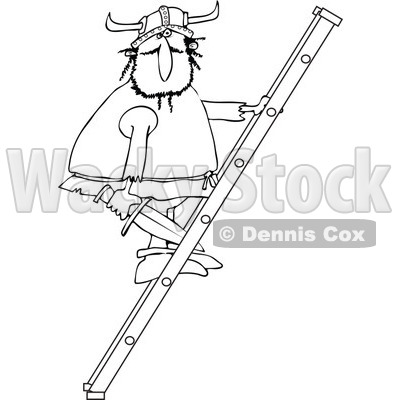 Clipart of a Black and White Viking Man Holding a Sword and Climbing a Ladder - Royalty Free Vector Illustration © djart #1273858