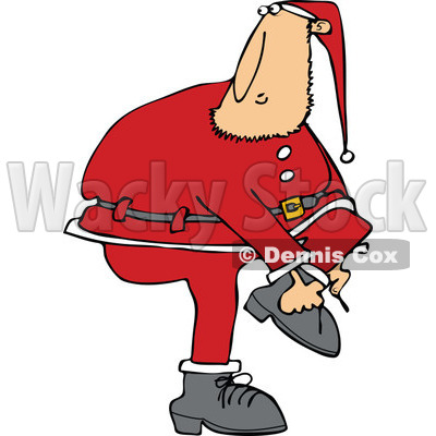Clipart of a Christmas Santa Clause Trying to Put on a Boot - Royalty Free Vector Illustration © djart #1274407