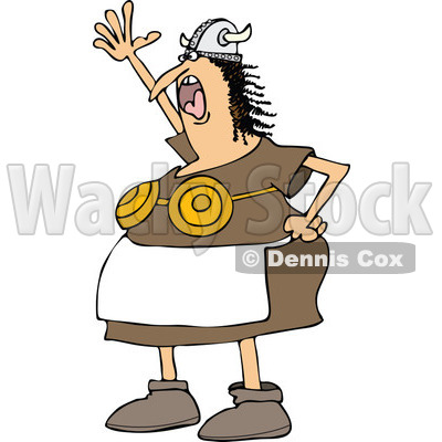 Clipart of a Mad Shouting Viking Woman in an Apron and Bra - Royalty Free Vector Illustration © djart #1274409