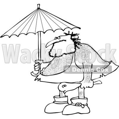 Clipart of a Black and White Hairy Caveman Holding a Club and Standing Under an Umbrella - Royalty Free Vector Illustration © djart #1275537