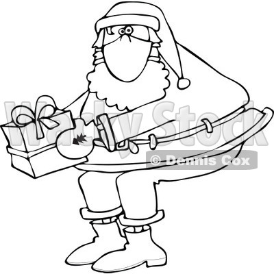 Clipart of a Black and White Santa Wearing a Mask and Holding a Christmas Gift - Royalty Free Vector Illustration © djart #1278090