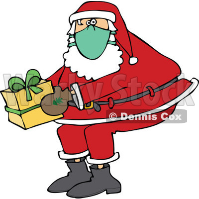 Clipart of Santa Claus Wearing a Mask and Holding a Christmas Gift - Royalty Free Vector Illustration © djart #1278094