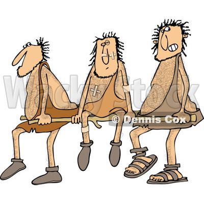 Clipart of Hairy Cavemen Carrying an Injured Friend on a Stretcher - Royalty Free Vector Illustration © djart #1278097