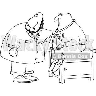 Cartoon Clipart Of A Black And White Chubby Male Doctor Listening To
