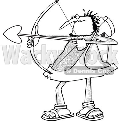 Cartoon Clipart of a Black and White Chubby and Hairy Valentines Day Cupid Man Aiming His Arrow - Royalty Free Vector Illustration © djart #1281218