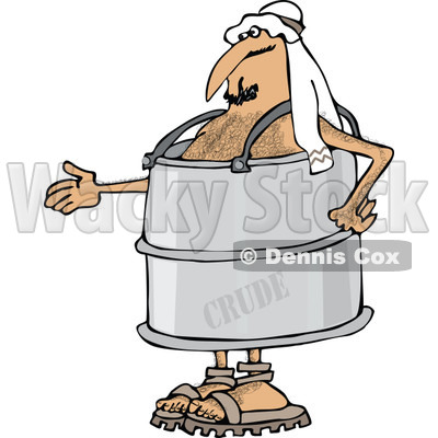 Clipart of an Arab Man in a Crude Oil Barrel Suit, Holding out His Hand - Royalty Free Vector Illustration © djart #1281353