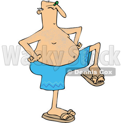 Clipart of a Senior Caucasian Man Dancing in Swim Trunks - Royalty Free Vector Illustration © djart #1283176