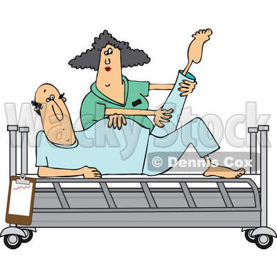 Clipart of a White Female Nurse Helping a Caucasian Male Patient Stretch for Physical Therapy Recovery in a Hospital Bed - Royalty Free Vector Illustration © djart #1283180
