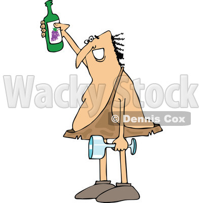 Clipart of a Happy Caveman Holding up a Wine Bottle, a Glass in One Hand - Royalty Free Vector Illustration © djart #1286934