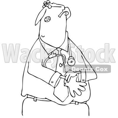 Clipart of a Black and White Middle Aged Male Doctor Putting on Exam Gloves - Royalty Free Vector Illustration © djart #1286941