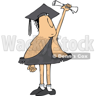 Clipart of a Hairy Caveman Graduate Holding up a Certificate - Royalty Free Vector Illustration © djart #1287474