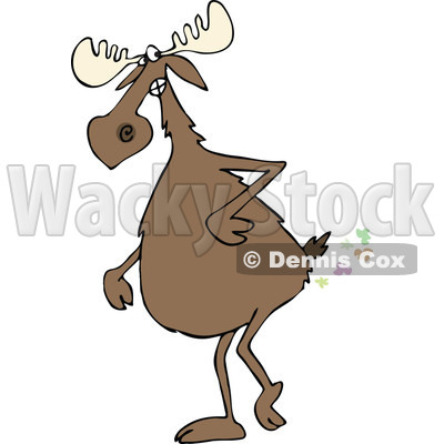 Clipart of a Moose Walking Upright and Farting - Royalty Free Vector Illustration © djart #1287479