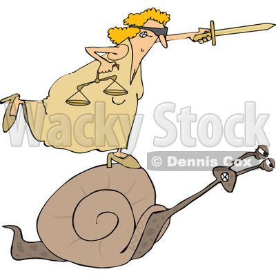 Clipart of a Blindfolded Lady Justice Holding a Sword and Scales and Riding a Slow Snail - Royalty Free Vector Illustration © djart #1289025