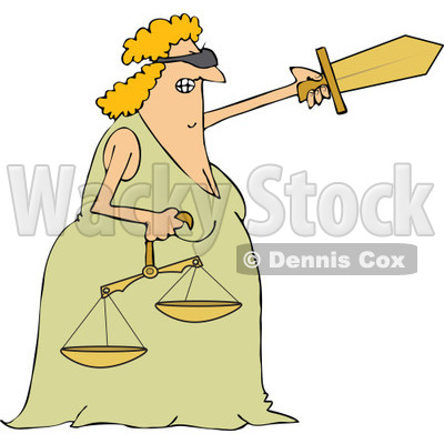 Clipart of a Tough Blindfolded Lady Justice Holding Scales and Pointing with a Sword - Royalty Free Vector Illustration © djart #1289080