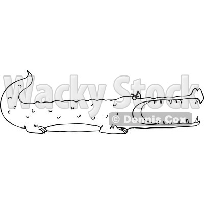 Clipart of a Black and White Angry Alligator - Royalty Free Vector Illustration © djart #1289678