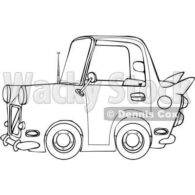 Clipart of a Black and White Vintage Car - Royalty Free Vector Illustration © djart #1289679
