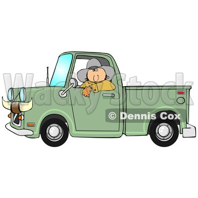 Clipart of a White Cowboy Looking out of the Window of His Green Pickup Truck with Horns on the Front - Royalty Free Illustration © djart #1289688