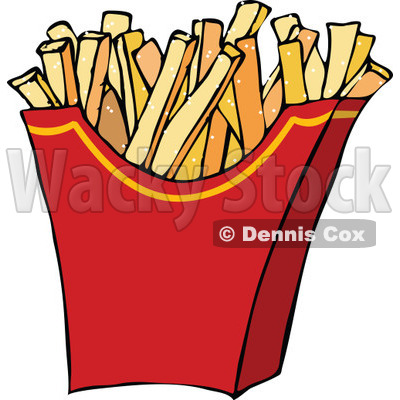 Clipart of a Red Carton of Salted French Fries - Royalty Free Vector Illustration © djart #1289690