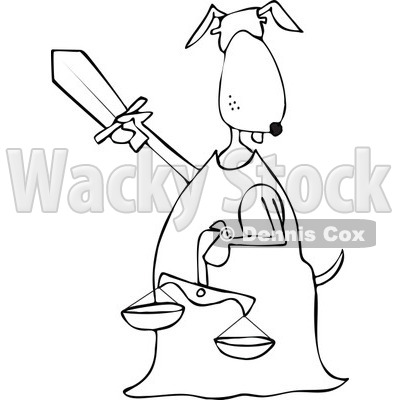 Clipart of a Blindfolded Black and White Lady Justice Dog Holding a Sword and Scales - Royalty Free Vector Illustration © djart #1290061
