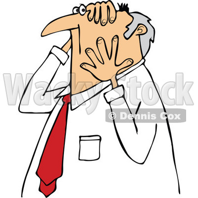Clipart of a Worried Chubby Senior Caucasian Businessman Grabbing His Head and Face - Royalty Free Vector Illustration © djart #1290066