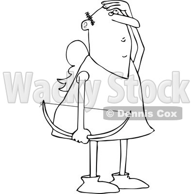 Clipart of a Black and White Cupid Holding a Bow and Looking up to Watch His Arrow - Royalty Free Vector Illustration © djart #1290745