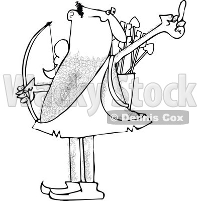 Clipart of a Black and White Angry Cupid Holding up His Middle Finger - Royalty Free Vector Illustration © djart #1290749