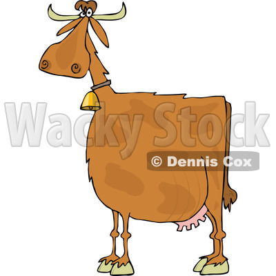 Clipart of a Spotted Brown Cow Wearing a Bell - Royalty Free Vector Illustration © djart #1290770