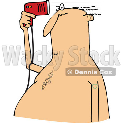 Clipart of a Chubby Caucasian Bald Man Blow Drying the Few Hairs on His Head - Royalty Free Vector Illustration © djart #1292386