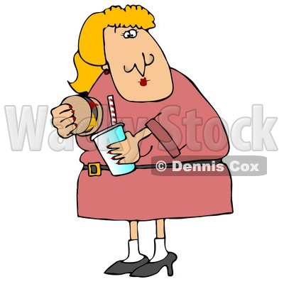Fat Blond Woman Eating a Cheeseburger and Drinking a Soda Pop Clipart Illustration © djart #12937