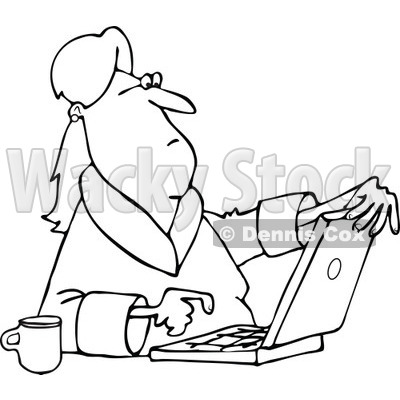Lineart Clipart of a Black and White Woman in Her Robe, Sitting with Coffee and Using a Laptop Computer - Royalty Free Outline Vector Illustration © djart #1293829