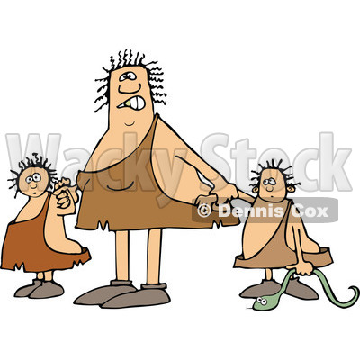 Clipart of a Mad Chubby Cavewoman Mom with Two Trouble Maker Children - Royalty Free Vector Illustration © djart #1293831