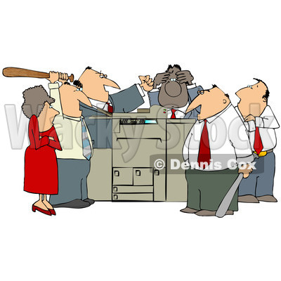Clipart of a Frustrated White and Black Employee Office Mob Gathered Around a Copy Machine or Printer with Baseball Bats - Royalty Free Illustration © djart #1294034