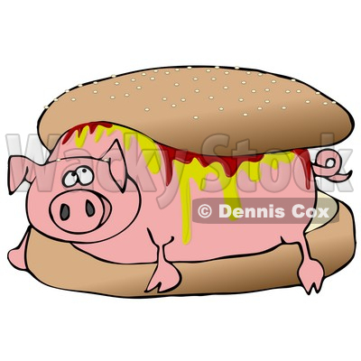 Relaxed Pig Covered in Mustard and Ketchup, Lying in a Hamburger Bun Clipart Illustration © djart #12941